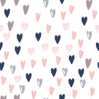 Doodle serca ręcznie rysowane wzór. nowoczesna tekstura tła do pakowania papieru, projektowania tekstyliów i tapet. ilustracja wektorowa