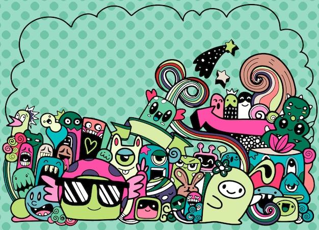 Doodle ślicznego potwora z copyspace tłem, ręka rysunku doodle