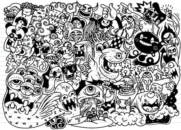 Doodle słodkie tło potwora, rysunek odręczny doodle