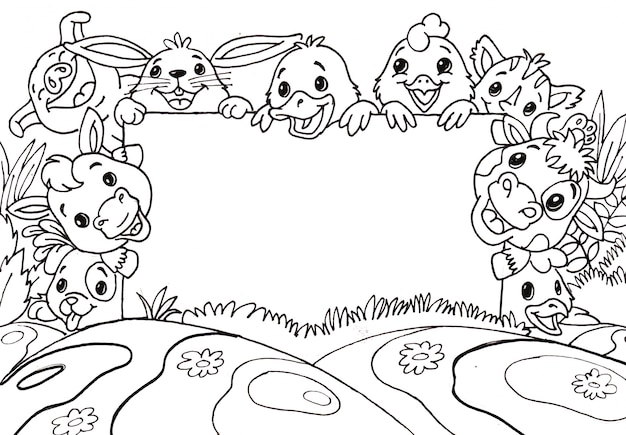 Doodle słodkie zwierzęta gospodarskie z pustym forum dyskusyjnym