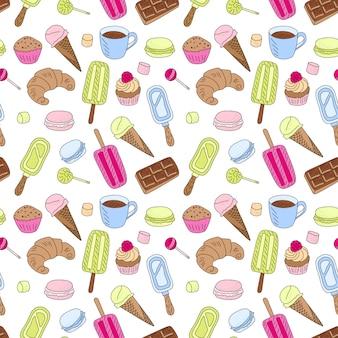 Doodle słodycze jedzenie wzór. kontur kreskówka, rysowane tekstury z kolorowym deserem. babeczka muffin, lody i cukierki czekoladowe