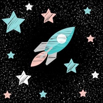 Doodle statek kosmiczny i gwiazda. wektor kreskówka dziecinna ilustracja przestrzeni z różowymi, białymi i niebieskimi gwiazdami i statkiem kosmicznym na czarnym tle otwartej przestrzeni