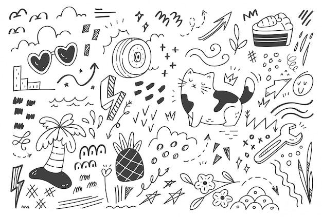 Doodle streszczenie zestaw ilustracji