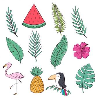 Doodle styl kolorowej letniej kolekcji z arbuzem, flamingiem i ananasem