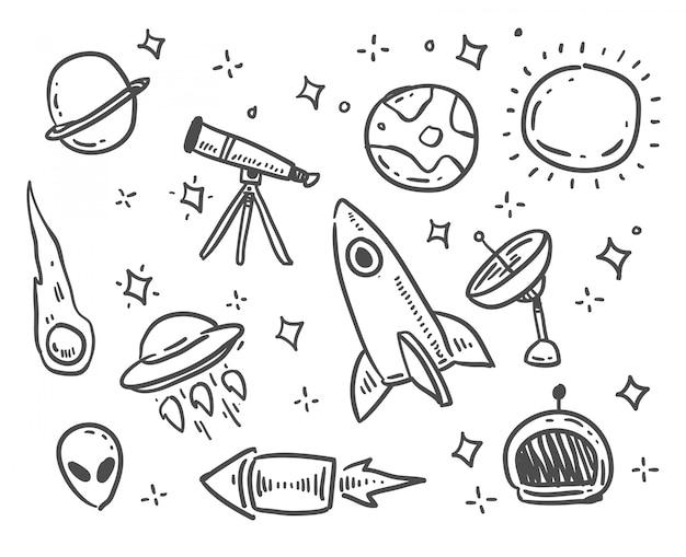 Doodle styl kosmiczny kreskówka