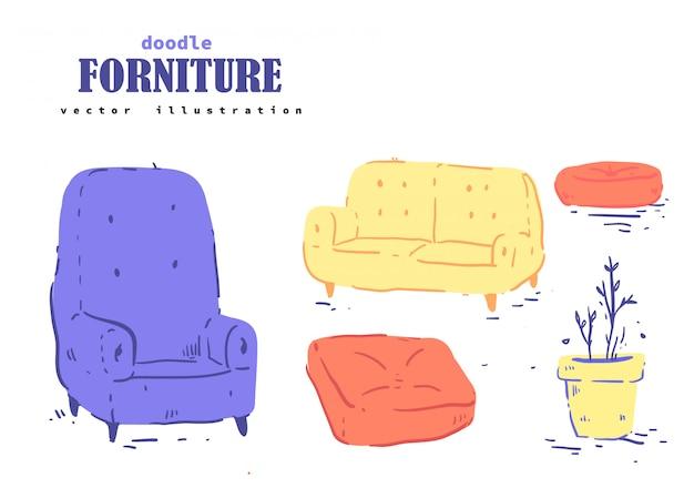 Doodle styl kreskówka forniture. forniture