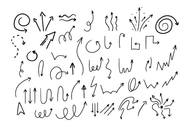 Doodle styl rysunek czarno-białe strzałki o różnych kształtach wskaźniki na białym tle wektor