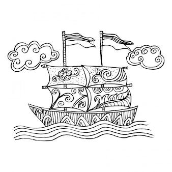 Doodle styl szkic żaglówkę