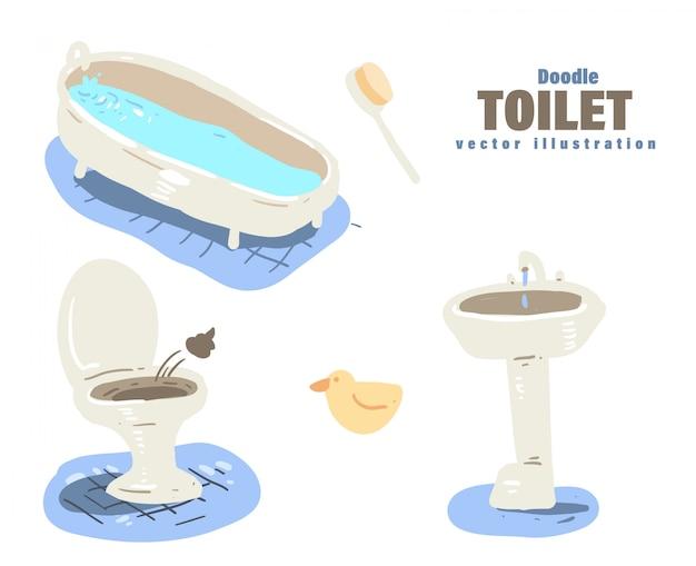 Doodle styl toaleta kreskówka. toaleta