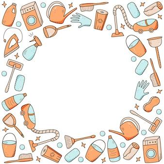 Doodle styl wektor elementy do czyszczenia. zestaw rysunków produktów i przedmiotów do czyszczenia. zestaw do mycia pokoju.