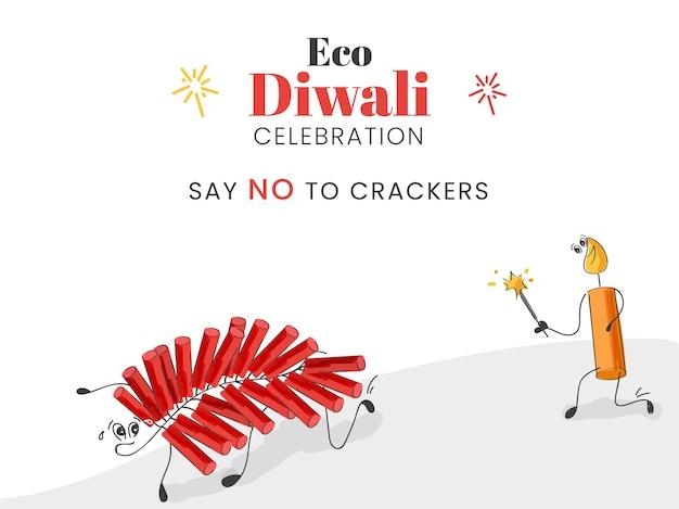 Doodle style cartoon świeca biegnąca za paskiem petardy i mówi nie dla krakersów na obchody eco diwali.