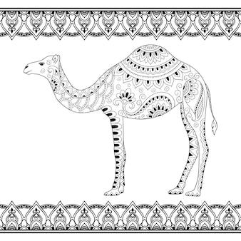Doodle stylizowany wielbłąd i bezszwowe obramowania do projektowania i nakładania henny