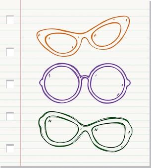 Doodle stylowe okulary na białym tle na papierze