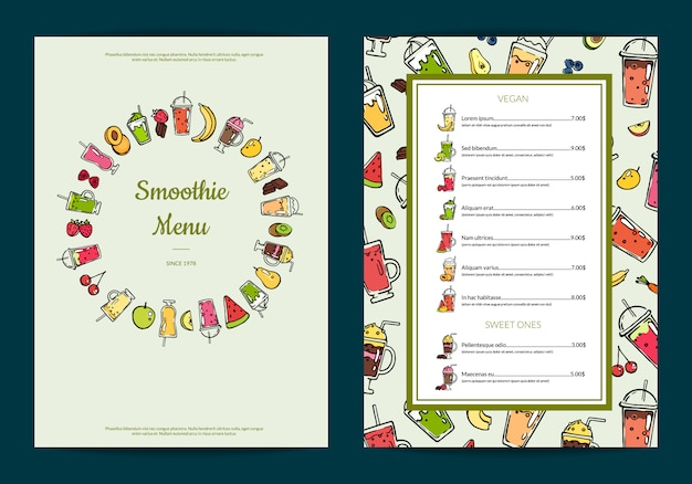 Doodle szablon menu koktajl