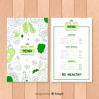 Doodle szablon menu organiczne