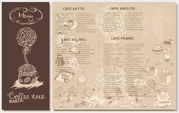 Doodle szablon menu restauracji kawy