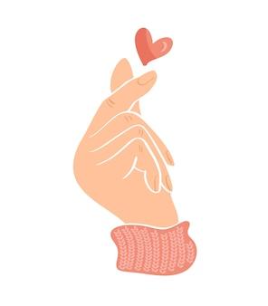 Doodle szkic dłoni pokazując serce palcami gest mini miłości. miłość koncepcja walentynki