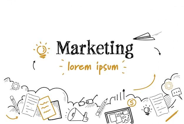 Doodle szkic strategii marketingowej na białym tle