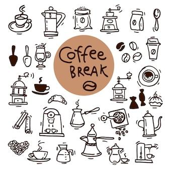 Doodle szkic zestaw ikon kawy. ręcznie rysowane ilustracje wektorowe. elementy projektu menu