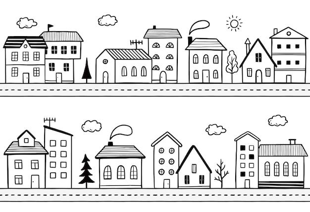 Doodle ulica miasta z domem