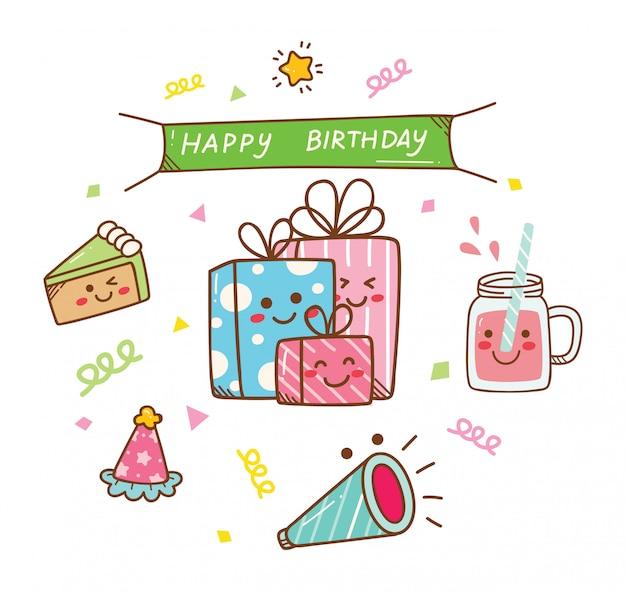 Doodle urodzinowy w stylu kawaii