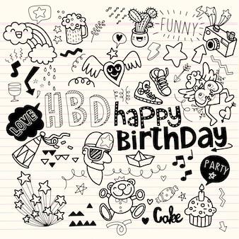 Doodle urodziny ręcznie rysowane elementy