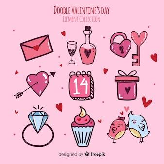 Doodle valentine elementy kolekcji