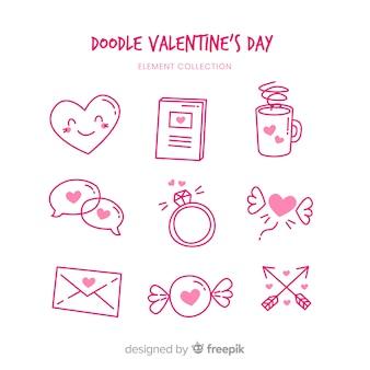 Doodle valentine elementy opakowanie