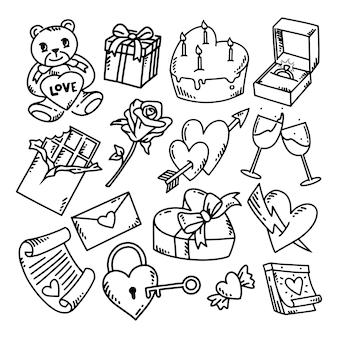 Doodle valentine zestaw ilustracji