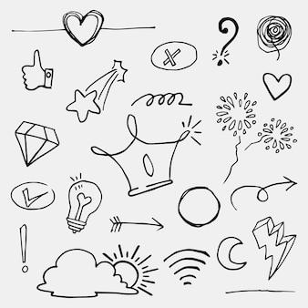 Doodle wektor zestaw ilustracji z ręki rysować wektor styl sztuki linii. korona, król, słońce, strzałka, serce, miłość, gwiazda, wir, pikuje, nacisk, do projektu koncepcyjnego