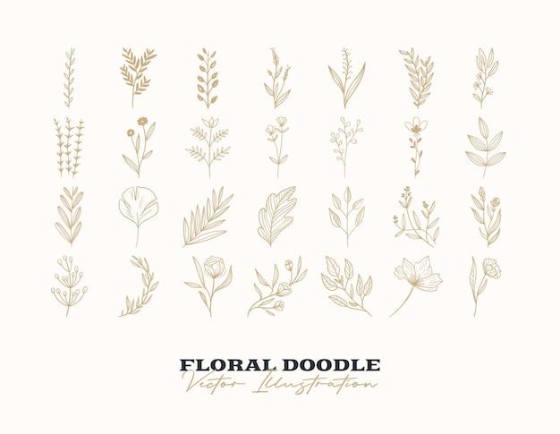 Doodle wektor zestaw kwiatów ręcznie rysowane elementy dekoracyjne do projektowania