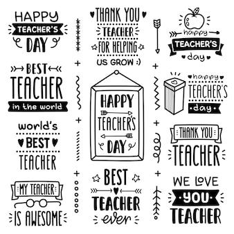 Doodle wektor zestaw pozdrowienia dzień nauczyciela