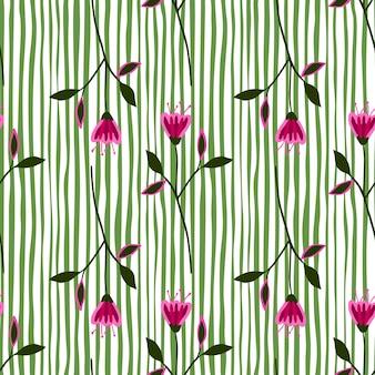 Doodle wildflower wzór na tle pasek.