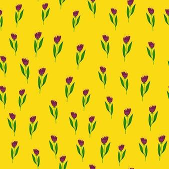 Doodle wildflower wzór na żółtym tle.