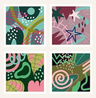 Doodle współczesnych kształtów i obiektów, zestaw ilustracji abstrakcyjny projekt