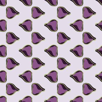 Doodle wzór bezszwowe owoce tropikalne z prostym fioletowym ornamentem rys. szare tło. druk żywności. przeznaczony do projektowania tkanin, nadruków na tekstyliach, zawijania, okładek. ilustracja wektorowa.