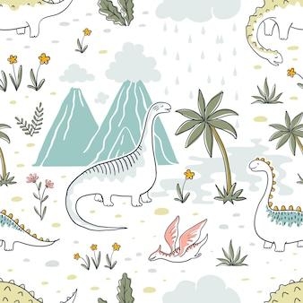 Doodle Wzór Dinozaura. Premium Wektorów