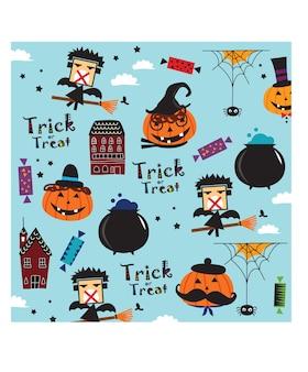 Doodle wzór dyni halloween