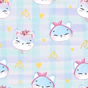 Doodle wzór kotek w akwarela.