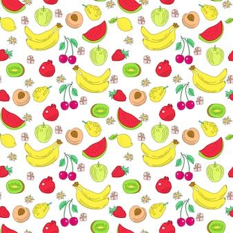 Doodle wzór owoców. lato kreskówka zarys tekstury z kolorowymi fruts. arbuz, kiwi i wiśnia, banan