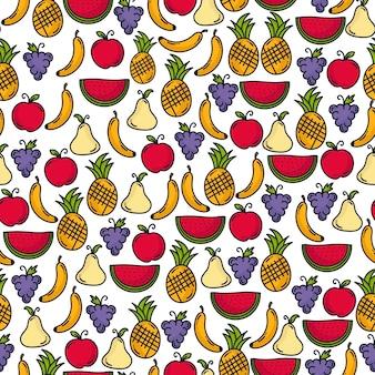 Doodle wzór owoców