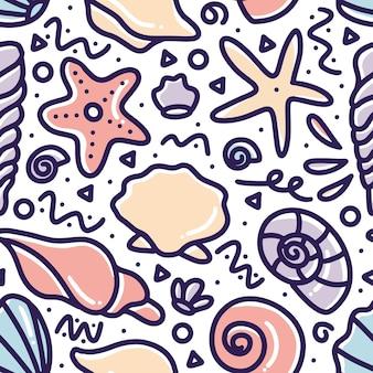 Doodle wzór strony zwierząt morskich, rysunek z ikonami i elementami projektu