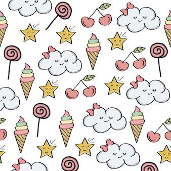 Doodle wzór z elementami magiczne słodycze