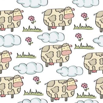 Doodle wzór z krowami