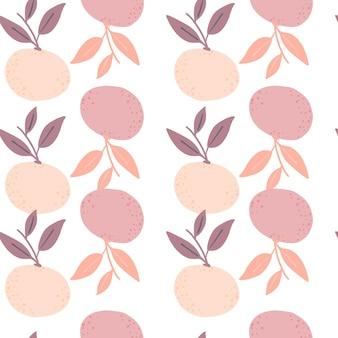 Doodle wzór z kształtami sylwetki różowej mandarynki