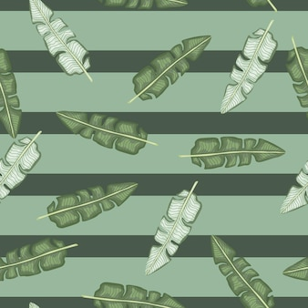 Doodle wzór z ornamentem liści tropikalnych bananów. zielone pastelowe tło paski. projekt graficzny do owijania tekstur papieru i tkanin. ilustracja wektorowa.