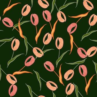 Doodle wzór z różowymi losowymi kształtami tulipanów. ciemnozielone tło. zabytkowy styl. projekt graficzny do owijania tekstur papieru i tkanin. ilustracja wektorowa.