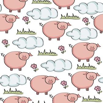 Doodle wzór ze świń