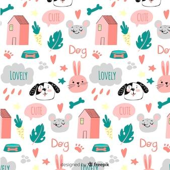 Doodle wzór zwierząt i słów