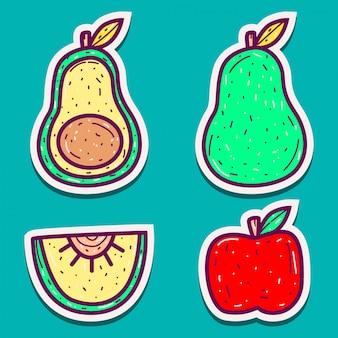 Doodle wzory różnych naklejek owocowych